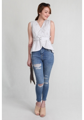 Belted Sleeveless Tulip Top in Grey