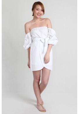 Off Shoulder Tulip Dress in White