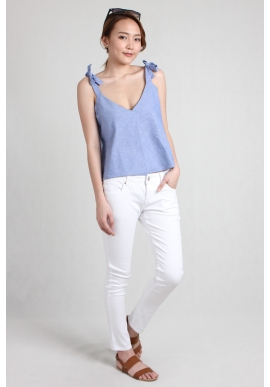 Ribbon Plunge V Denim Top`