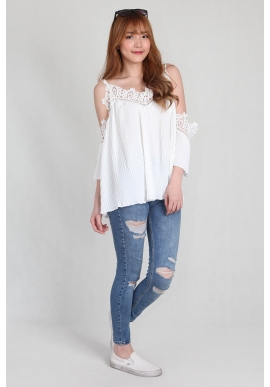 Nami Cold Shoulder Pleat Top in White