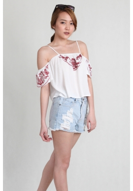 Embroidery Off Shoulder Crop in White