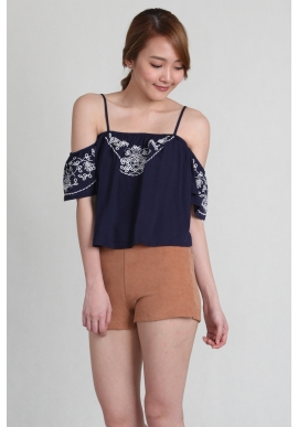 Embroidery Off Shoulder Crop in Blue