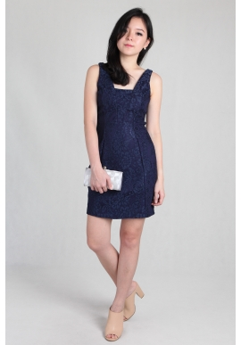 Cutout Sleeveless Lace Dress in Navy