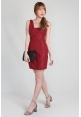 Cutout Sleeveless Lace Dress in Red
