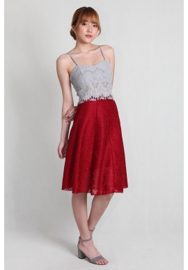 Lace Neoprene Skirt in Red