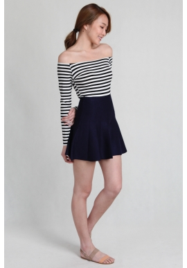 Kendra Knit Flare Mini in Navy