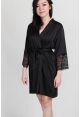 Lace Trimmed Satin Robe in Black