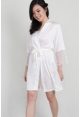 Lace Trimmed Satin Robe in White