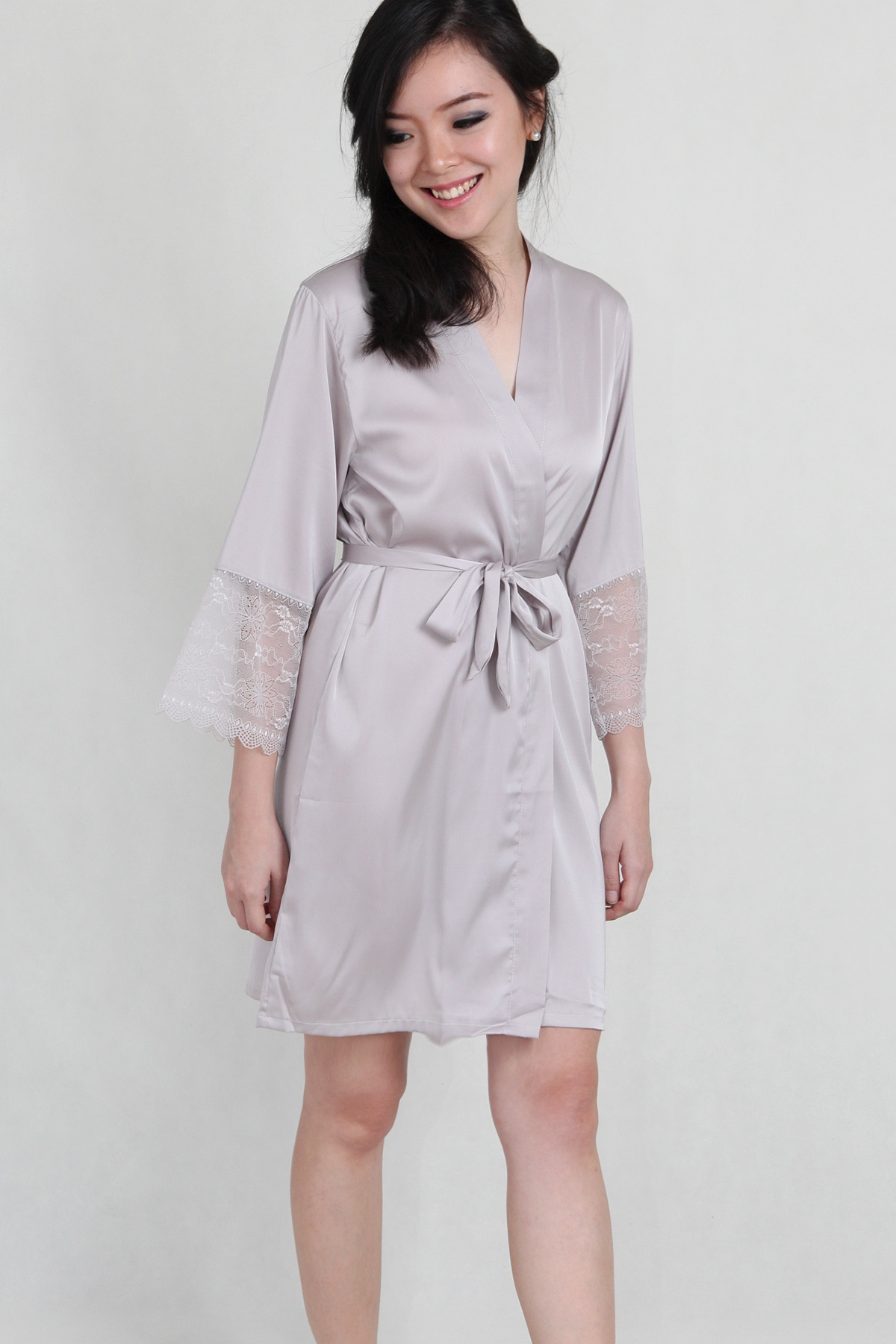 Lace Trimmed Satin Robe in Smoke