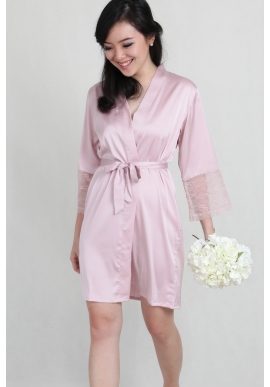 Lace Trimmed Satin Robe in Pale Blush 149655311