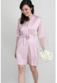 Lace Trimmed Satin Robe in Pale Blush
