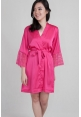 Lace Trimmed Satin Robe in Fuchsia