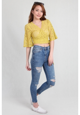 Lace Kimono Tie Crop Wrap in Lime