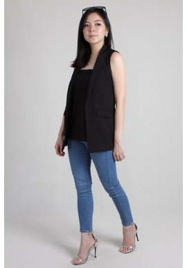 (Backorder) Basic Sleeveless Vest in Black