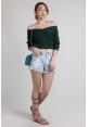 V-Neck Knit Pullover in Jade