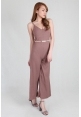 Sleek Knit Jumpsuit in Toffee