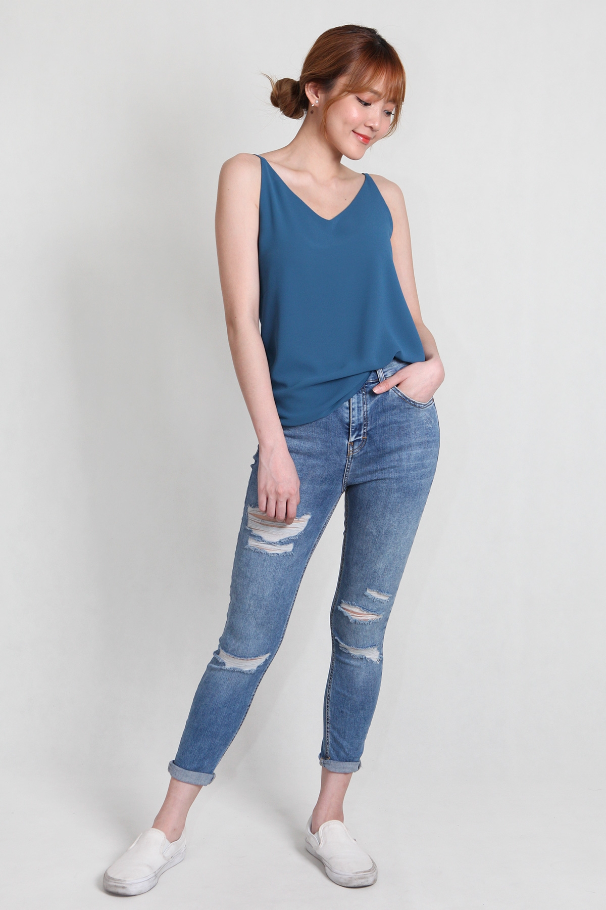 Plunge V-Neck Cami in Teal