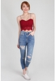 Shoestring Lace Crop Bralet in Red
