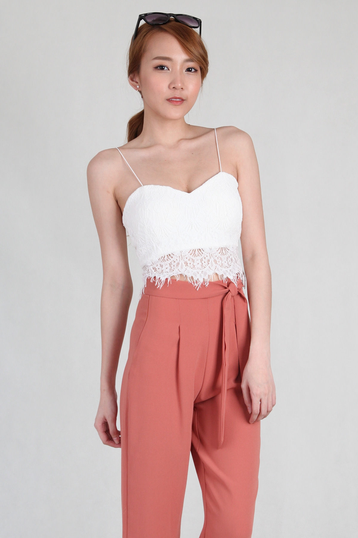 Shoestring Lace Crop Bralet in White
