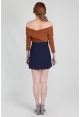 Asymmetric Pleat Skirt in Navy