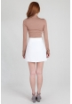 Asymmetric Pleat Skirt in White