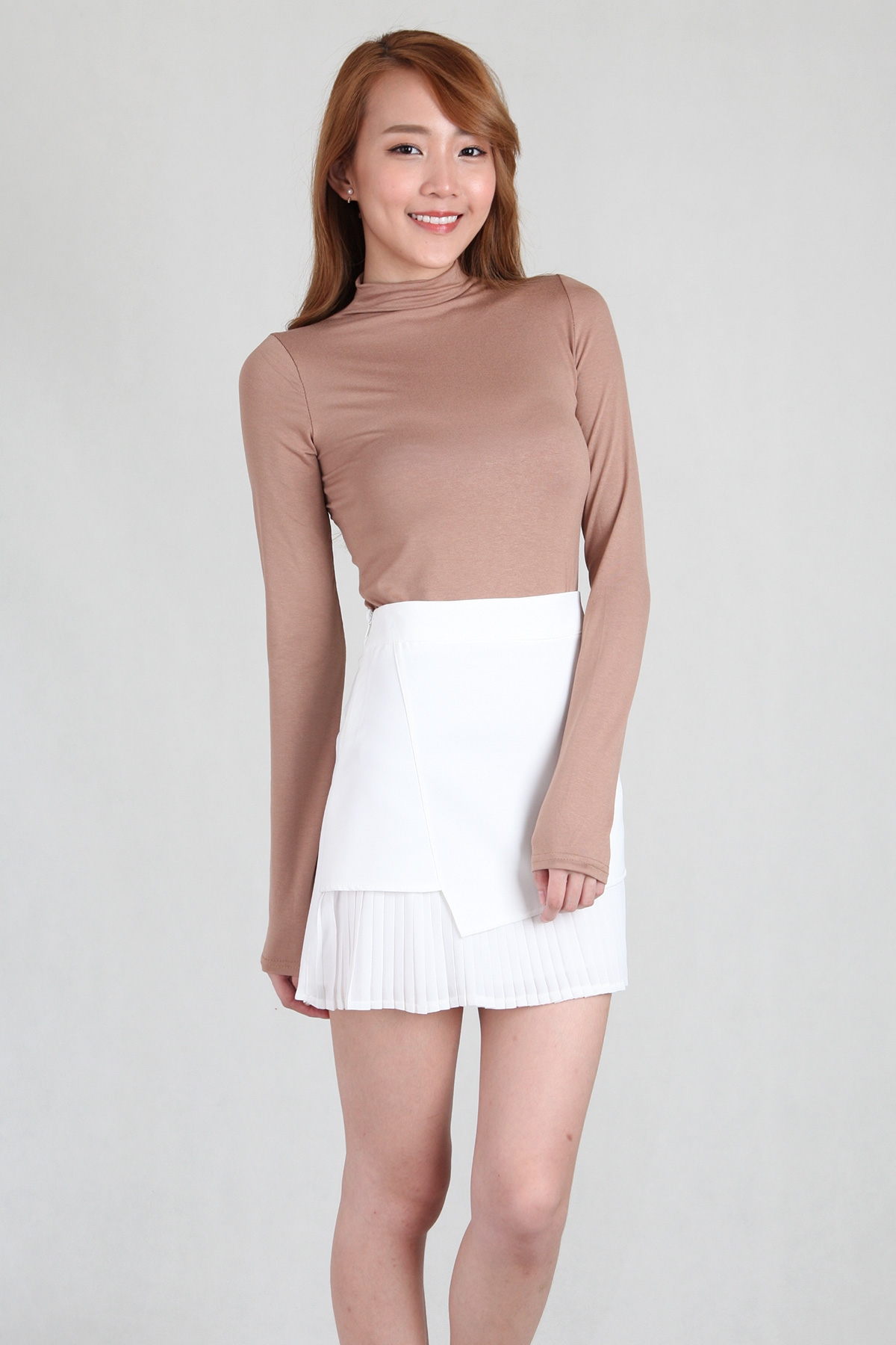 Basic Cosy Long Sleeve Top in Camel