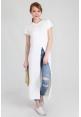 Front Split T-Shirt Long Dress in White
