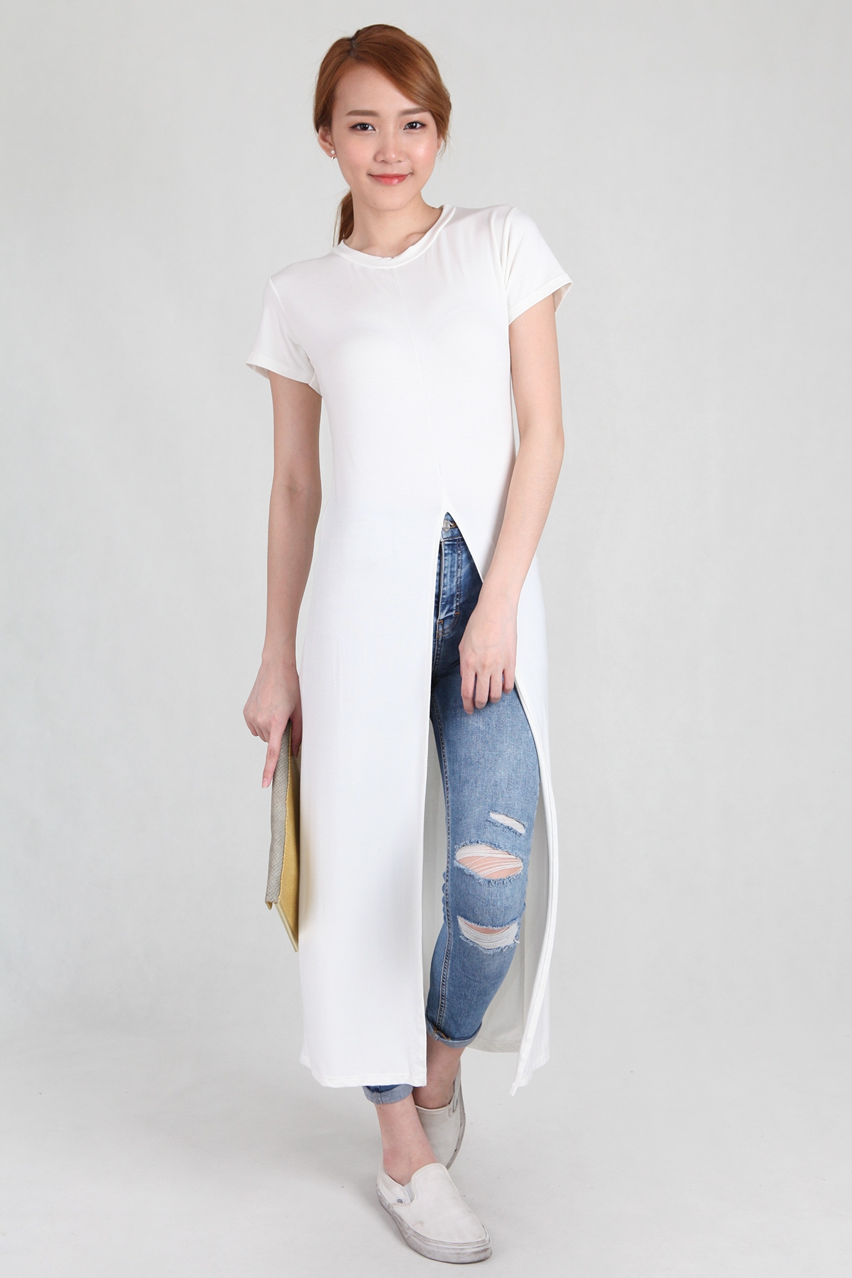 Front Split T-Shirt Long Dress in White - PS Curate