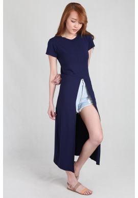 Front Split T-Shirt Long Dress in Navy