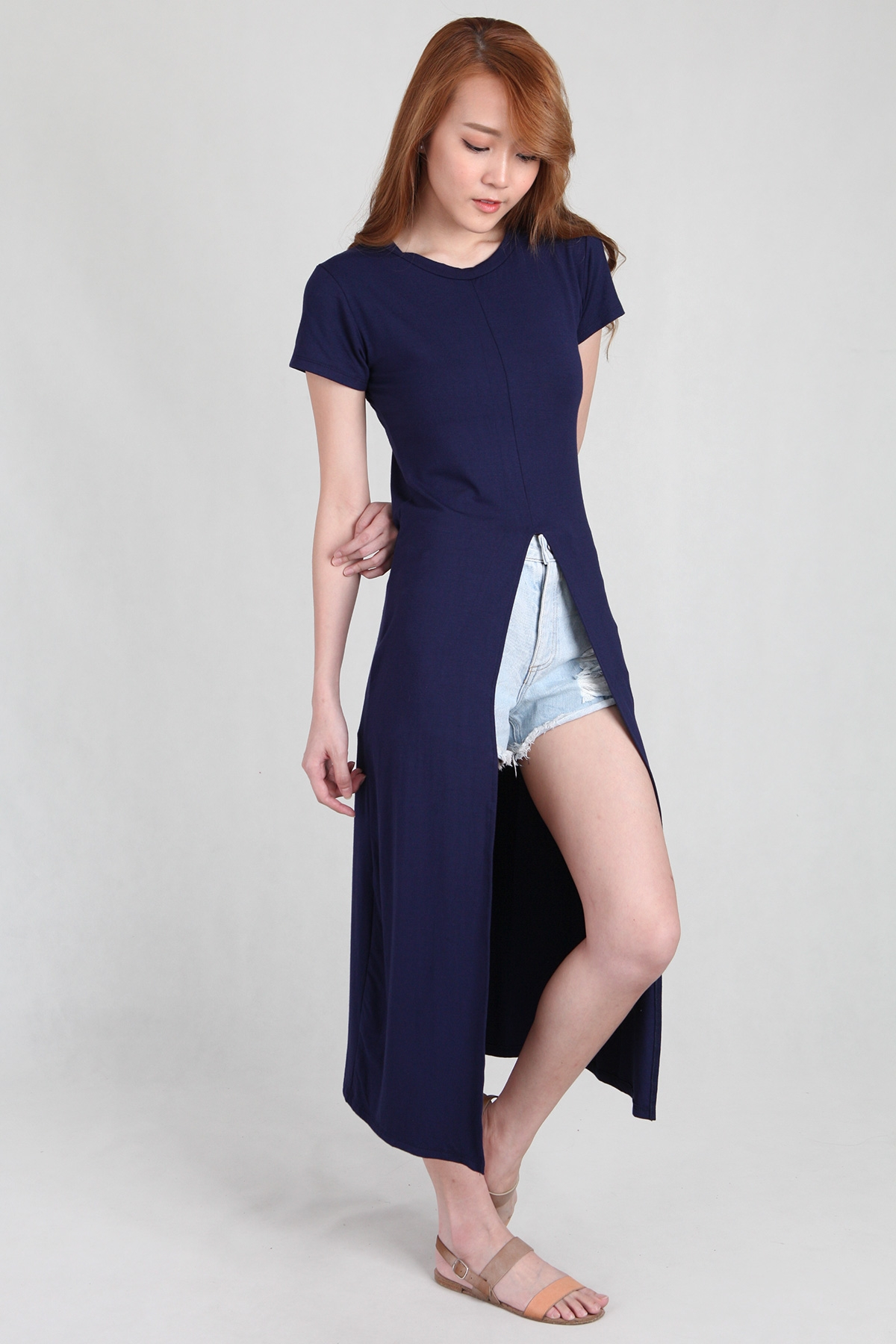 Front Split T-Shirt Long Dress in Navy - PS Curate