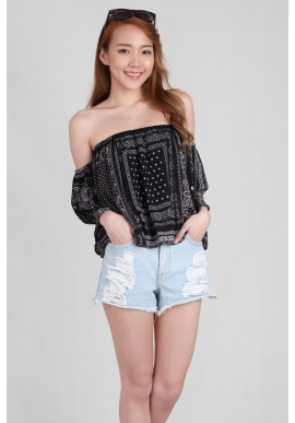 Paisley Offsie Top in Black
