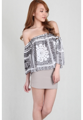 Paisley Offsie Top in White