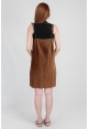 Felt Pleated Spag Dress in Mocha