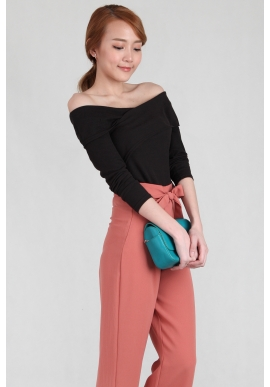 Cross Off Shoulder Knit Top in Black