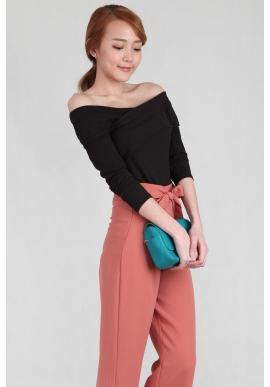 Cross Off Shoulder Knit Top in Black