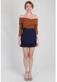 Cross Off Shoulder Knit Top in Toffee