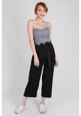 Tie Sash Fluid Culottes in Black