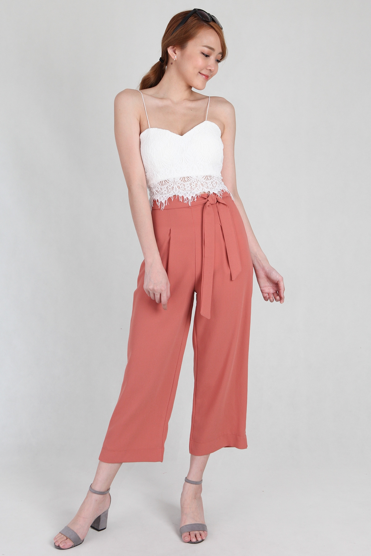 Tie Sash Fluid Culottes in Salmon
