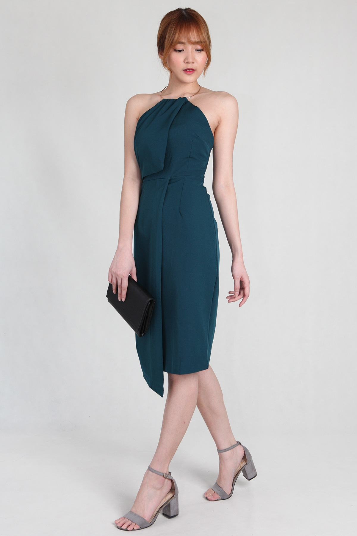 Grecian Metallic Collar Sheath Dress in Turquoise