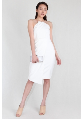 Grecian Metallic Collar Sheath Dress in White