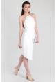Grecian Metallic Collar Sheath Dress in White