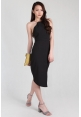 Grecian Metallic Collar Sheath Dress in Black