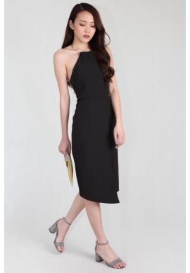Grecian Metallic Collar Sheath Dress in Black