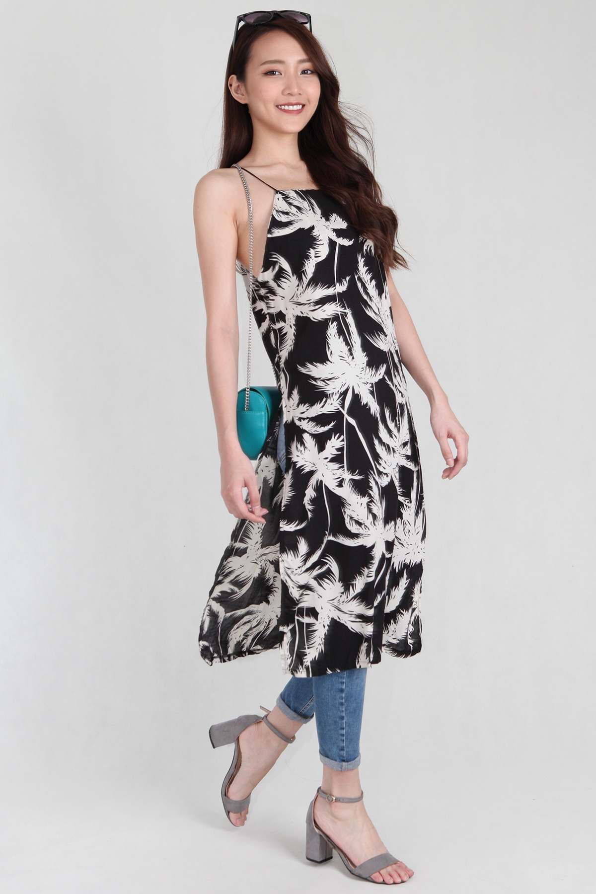Palm Spag Slit Long Tank in Black