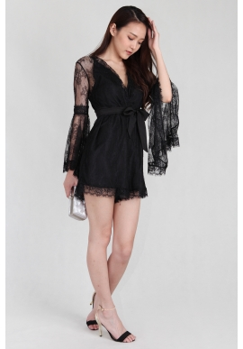 Marchesa Lace Fluted Sleeve Romper in Black