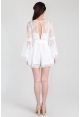 Marchesa Lace Fluted Sleeve Romper in White