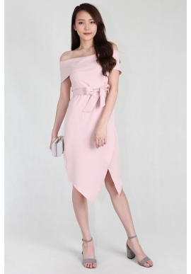 Faye Off Shoulder Asymmetric Dress in Blush