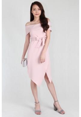 Faye Off Shoulder Asymmetric Dress in Blush