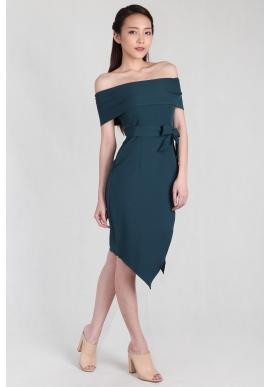 Faye Off Shoulder Asymmetric Dress in Turquoise