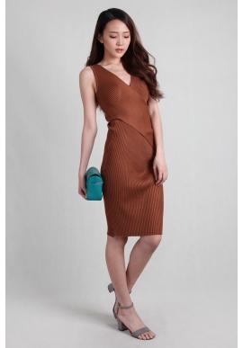 Criss-Cross Wrap Ribbed Dress in Rust
